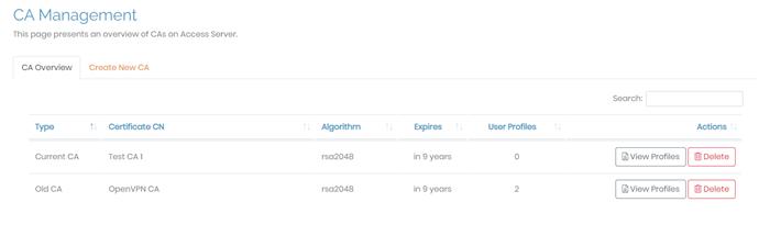 CA Management Admin Web UI