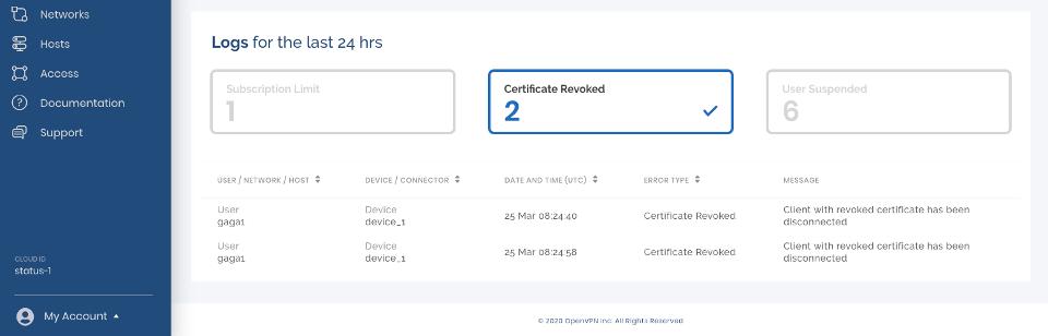 Certificate Revoked Log Filter Selected