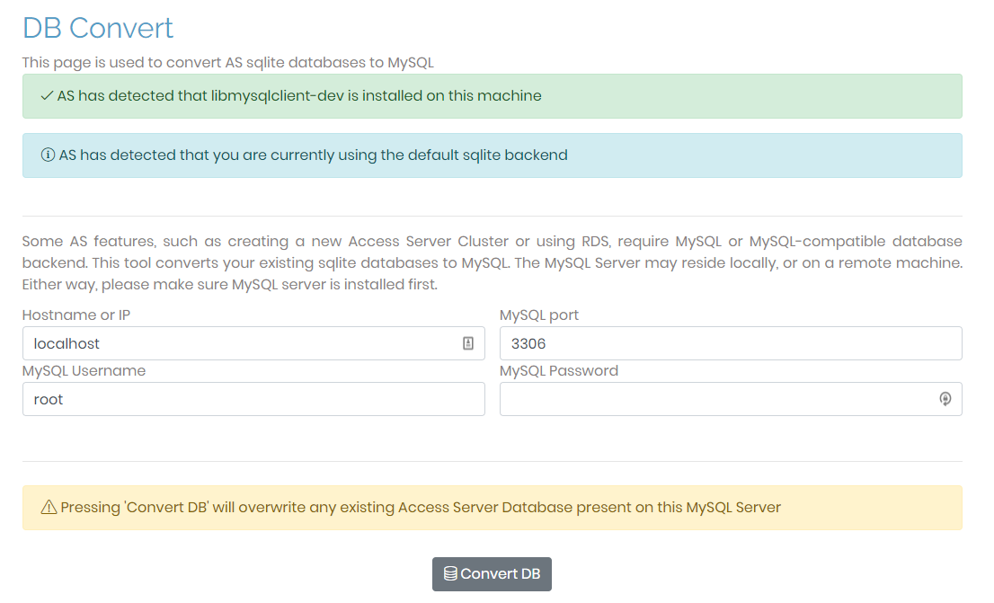 database convert page access server admin ui