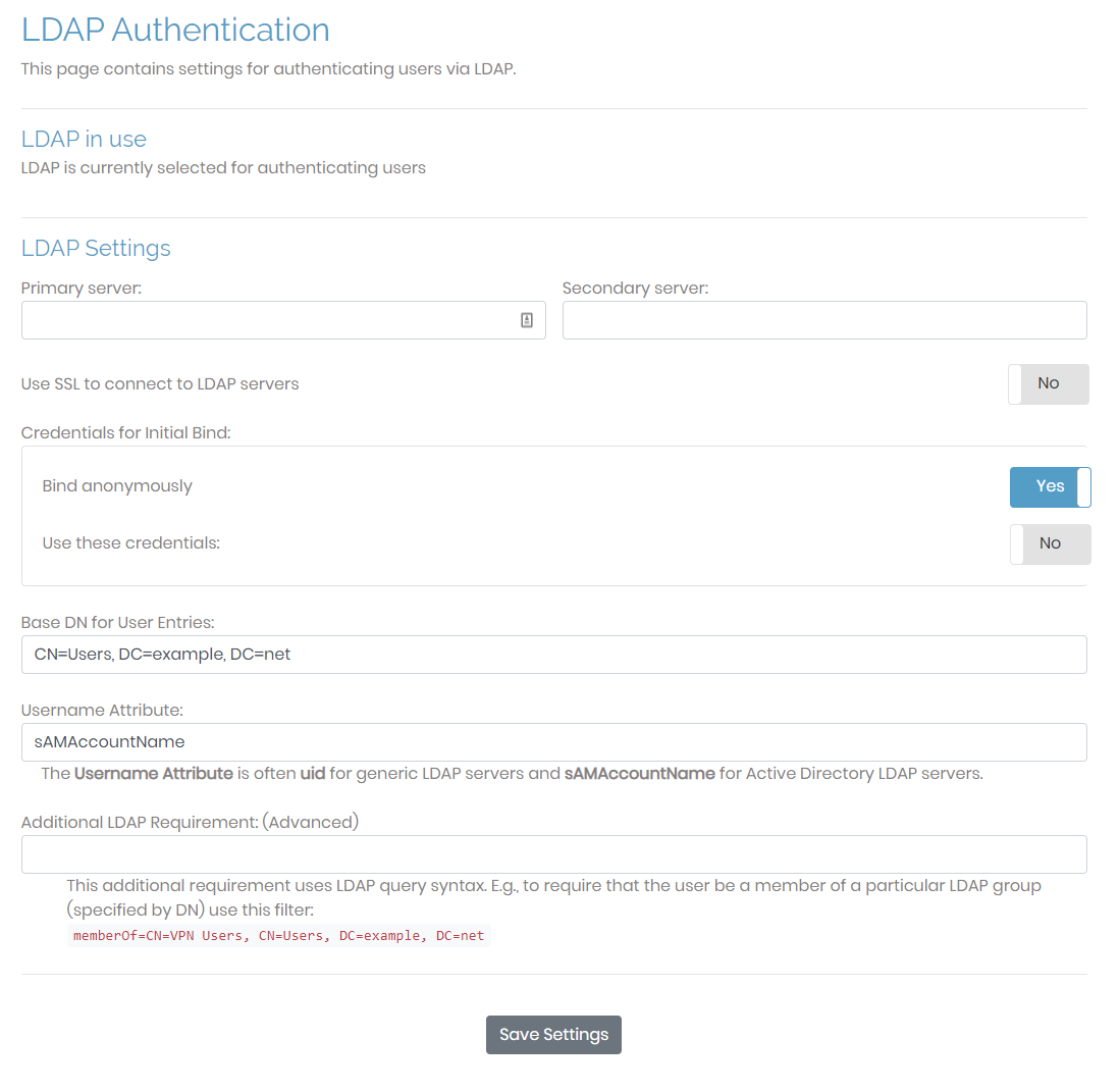 LDAP Settings page