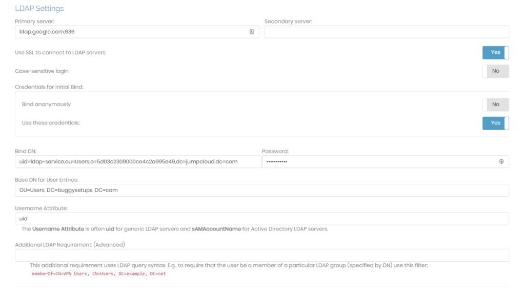 LDAP settings