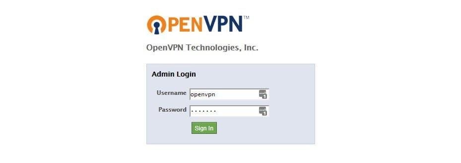 Log on to the Admin UI as OpenVPN administrative user.