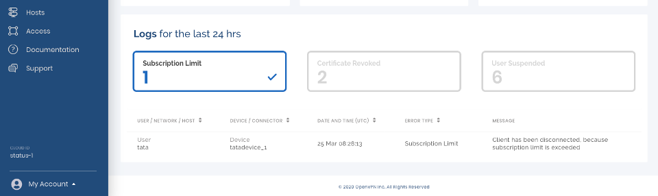 Subscription Limit Log Filter Selected