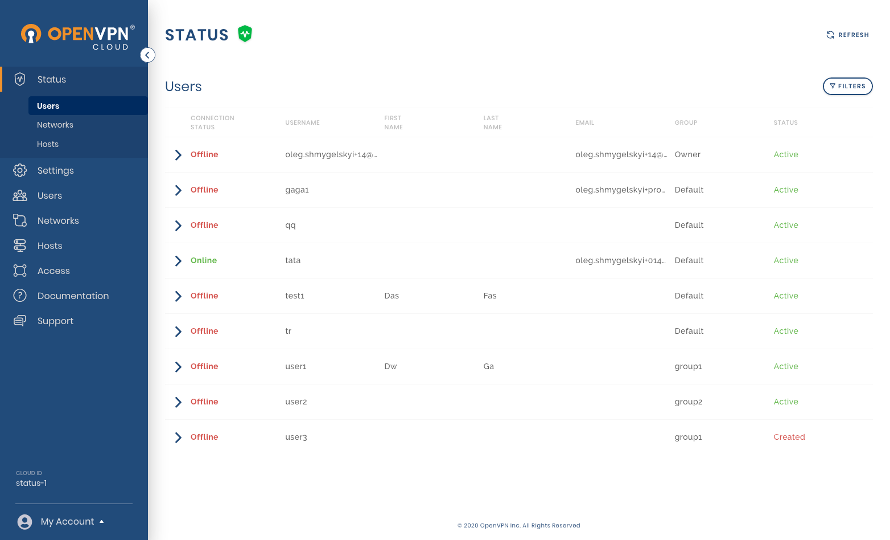 View overall Users status