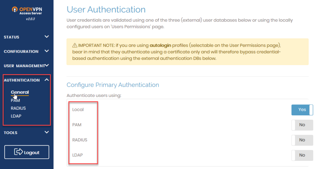 access server authentication