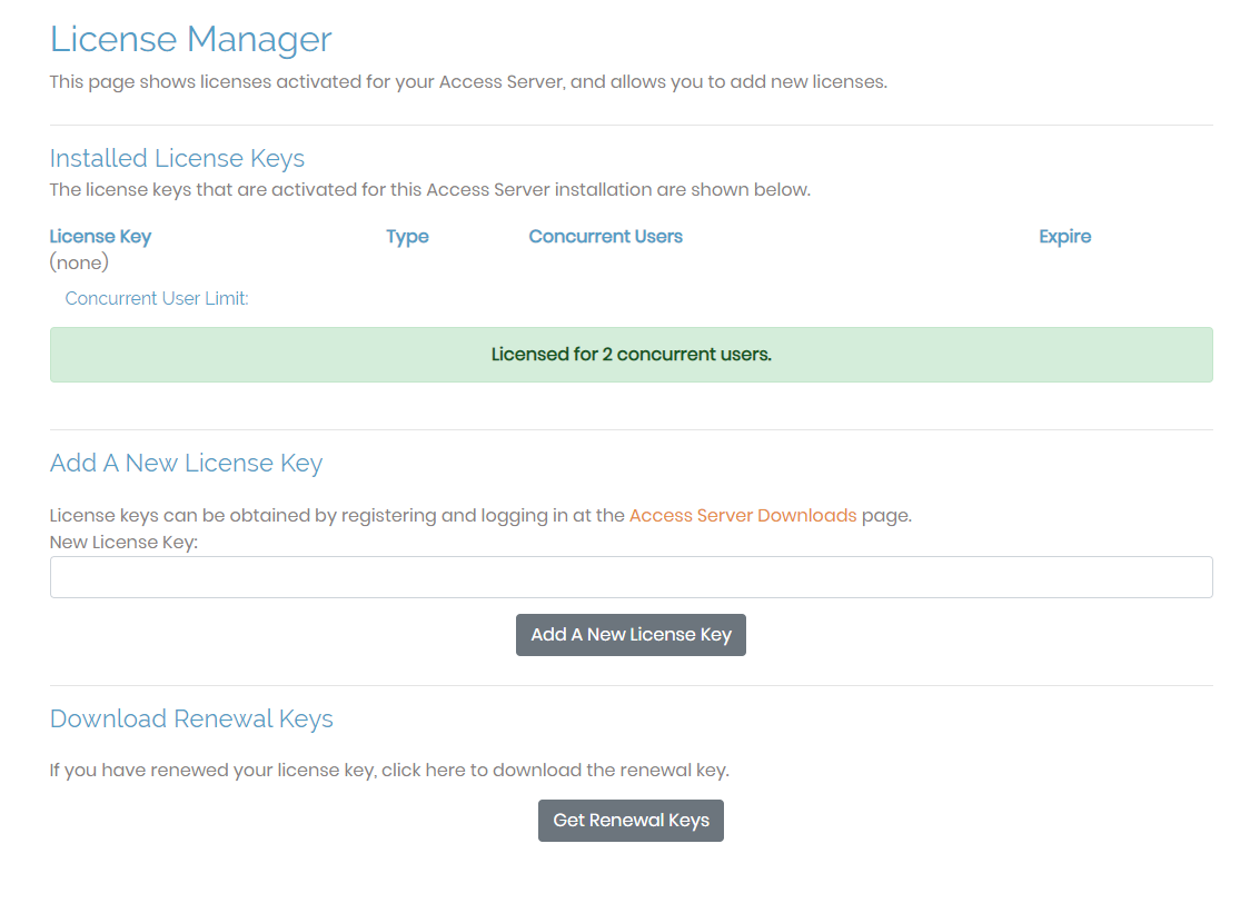 access server license manager