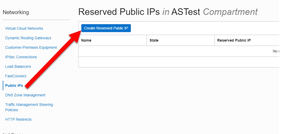 Add Reserved IP address in the compartment