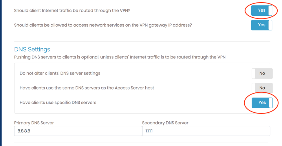 Check VPN Settings and Configure DNS Servers