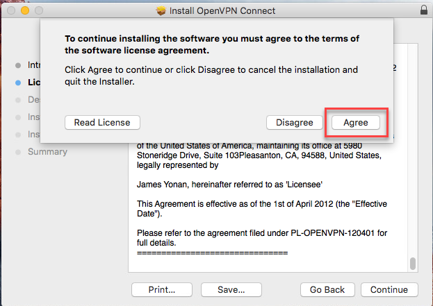 Click 'Agree' to accept the licensing terms