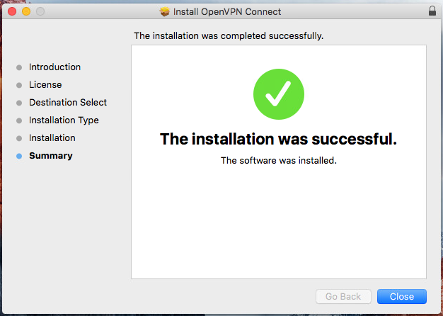 Click 'Close' to end the installation process
