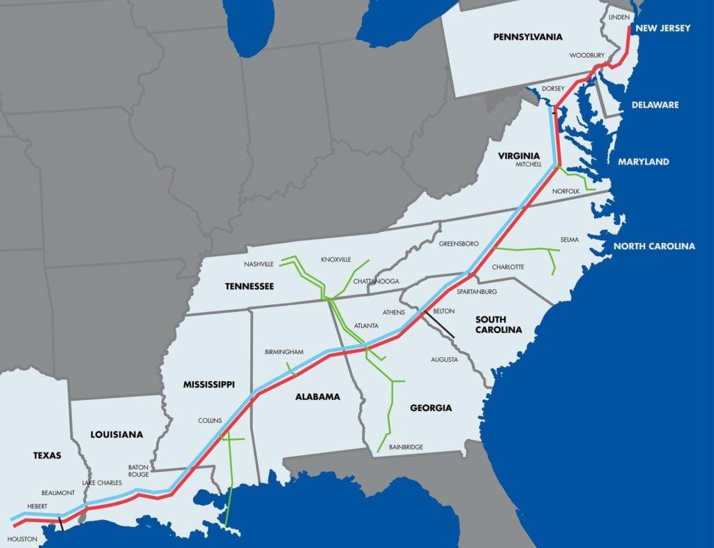 Colonial Pipeline, Southeastern US