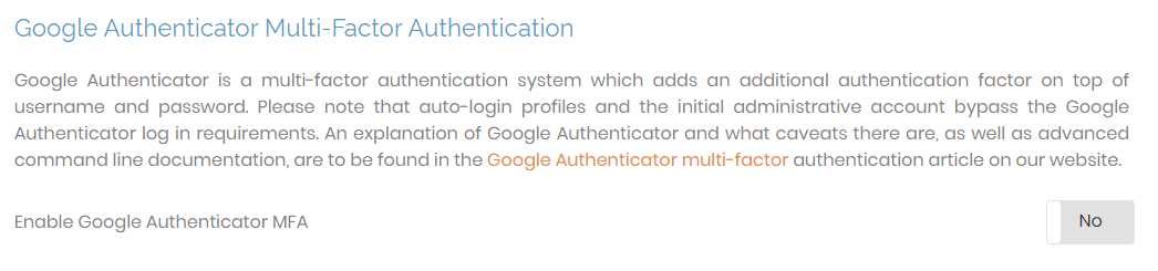 Configure Google Authentication support
