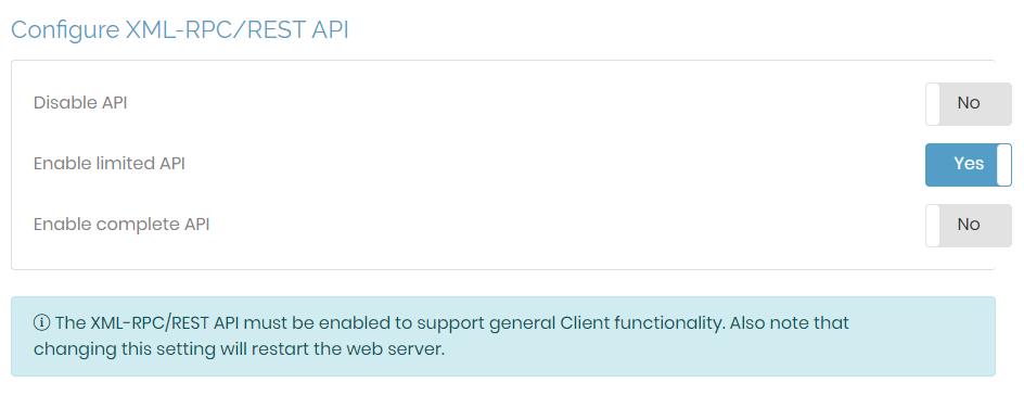 Configure XML-RPC-REST API