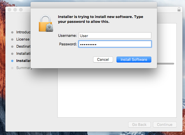 Enter your device password, if you have one configured, and click 'Install Software
