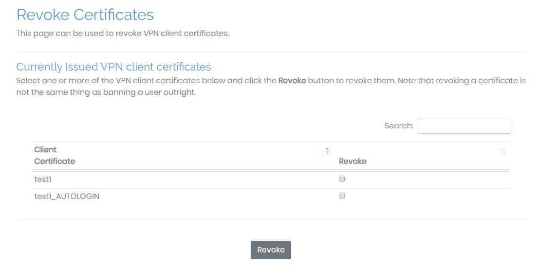 revoke certificates page