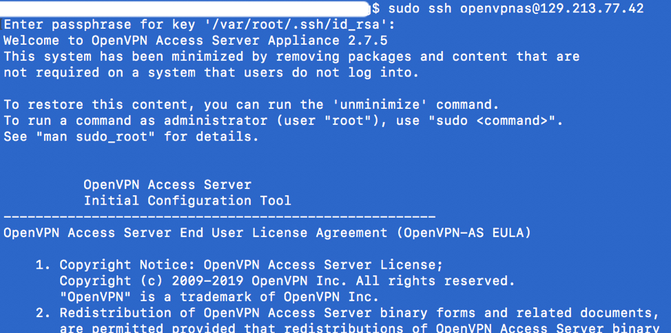 Use openvpnas as the user account and ssh to the public IP address of the instance