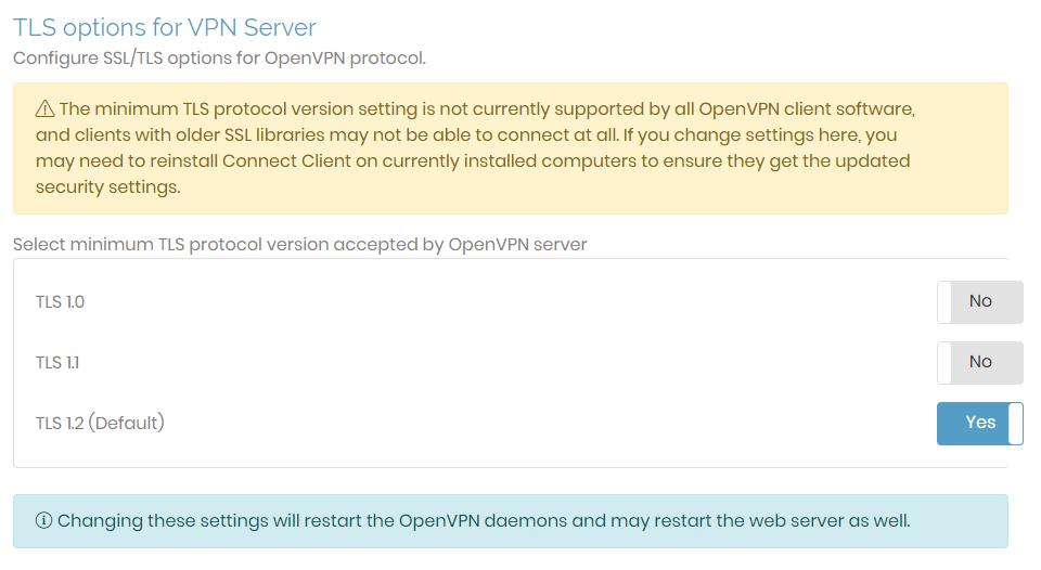 tls options for VPN server