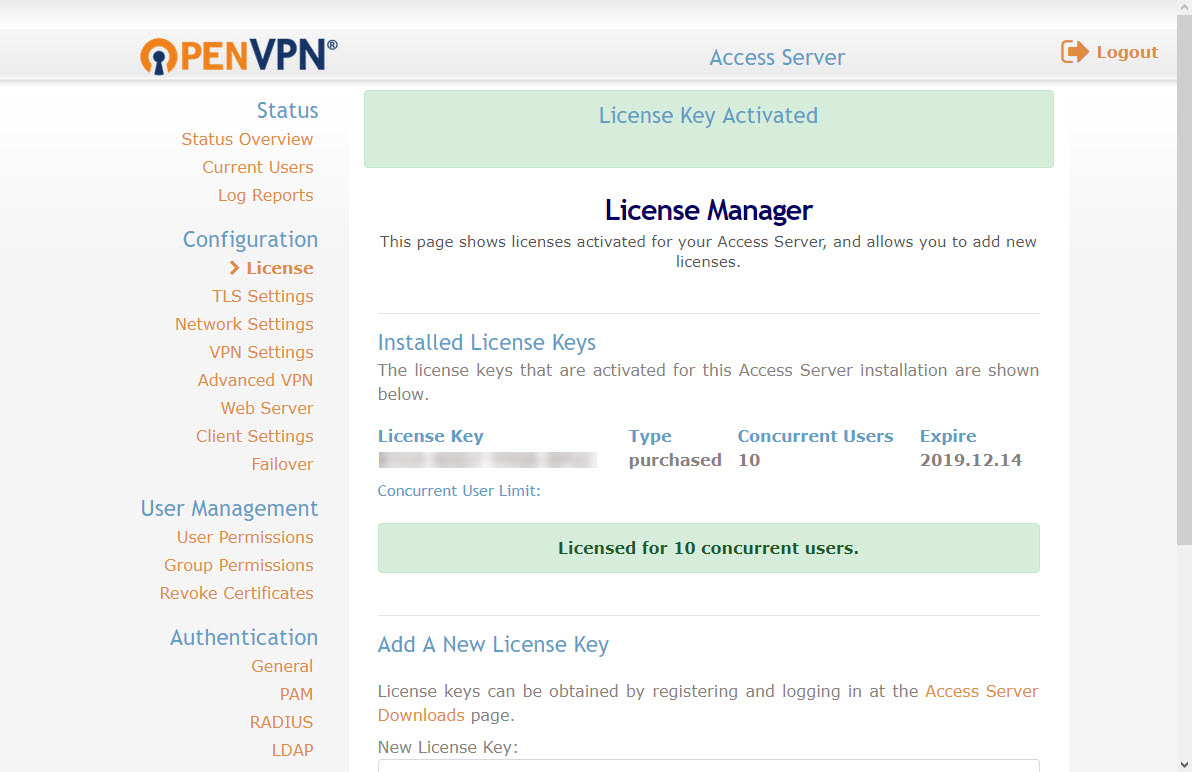 Activating an OpenVPN license on the Access Server | OpenVPN