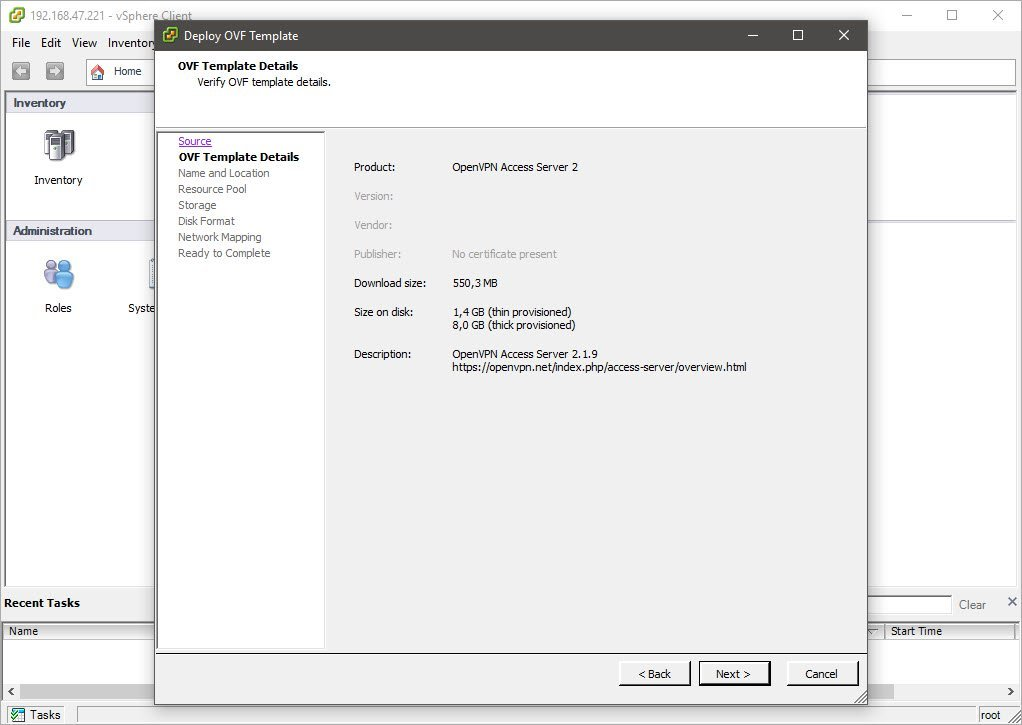 Deploying The Access Server VPN Appliance On VMWare ESXi