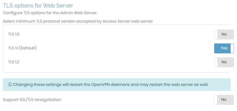 web server tls options